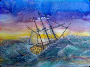 Endevour on the way to Australia, Watercolour by Andrea Connolly