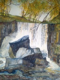Tullydermot Falls, Watercolour by Andrea Connolly