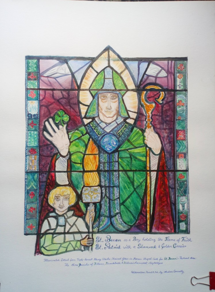 Illuminated Watercolour of St Patrick and St Benan by Andrea Connolly